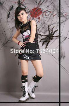 Punk Rock Black Gothic Shirt Cosplay  Sleeveless womens Casual TOP fashion 2015