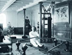 First class gym aboard the Titanic, 1912 Belive it or not there was a first class gym aboard the Titanic that any passenger with first class ticket could pay one shilling to gain access. It included some of the latest electric powered machinery such as an electric camel, horse, cycling and row machines that patrons could use under the watchfull eye of the Physical Educator that acted as sort of a lifeguard.