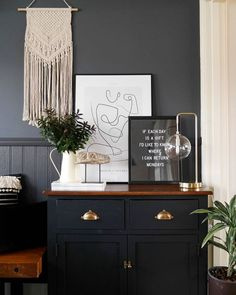 Living room or hall decor in a dark grey  #livingroom #hall #grey