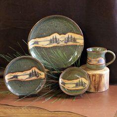 Seamist Mountain Scene Stoneware Dinnerware - 4 piece set