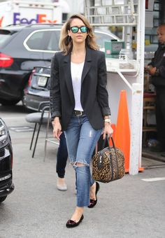 Jessica Alba's Best SoCal Street-Style Moments – Vogue - 7 For All Mankind jeans; Charlotte Olympia x Tom Binns shoes, Westward Leaning sunglasses, A.L.C. Lucas bag
