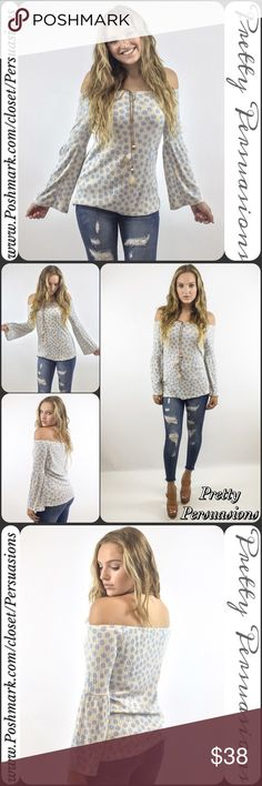 """SALE 💜NWT Off Shoulder Bell Sleeve Polka Dot Top NWT Off Shoulder Bell Sleeve Polka Dot Boho Top   Available in sizes: S, M, L Measurements taken in inches from a size small:  Length: 23""""  Bust: 36""""  Waist: 36""""  Features:  • long bell sleeves • relaxed fit • soft, ribbed material  • light blue polka dot print  • beaded & feather accent   Bundle discounts available  No pp or trades   Item # 1/1081400340PBST  polka dot bell sleeve Pretty Persuasions Tops"""