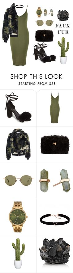 """Faux Fur Army"" by lenachkka ❤ liked on Polyvore featuring Raye, Topshop, Stand, Giuseppe Zanotti, Ahlem, Shashi, Nixon, Astrid & Miyu and McCoy Design"