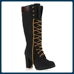 Damen Stiefel Blockabsatz Boots Schnürstiefel Lederoptik Schuhe 126939 Schwarz Autol 39 | Flandell® - Stiefel für frauen (*Partner-Link)