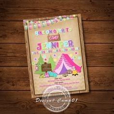 Girl camping birthday invitation diy printable camp birthday girl camping birthday invitation diy printable camp birthday invite camping invitation girl camping invite by justalittlesparkle on etsy https filmwisefo