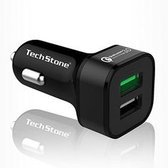 Car Charger Dual USB Qualcom 30 Quick Charge by TechStone Car Charger for iPhone 7  6s  Plus 5  5s iPad Pro  Air 2  mini Galaxy S7  S6  Edge  Plus Note 5  4 LG Nexus HTC and More * Continue to the product at the image link.