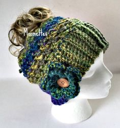 Handmade Chunky Messy Bun Hat Blue Green by MoomettesCrochet