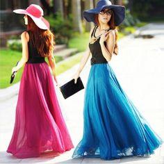 New Retro Lady Full Circle BOHO Gauze Chiffon Long Skirt Pleated Long Maxi Dress