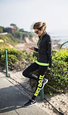 Black and Neon Nike,Workout Fashion Style.