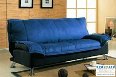 Deep Blue Sofa Bed Sofa Bed in Dark Blue and Black Cover Combination by Coaster (300068). This Futon Sofa by Coaster features a sturdy silver frame and and arm rest in black upholstery with dark blue cover. It folds flat to make a perfect bed. The soft padding on the mattress will provide you with maximum comfort while sleeping or relaxing. The modern design of this futon makes it a perfect piece for kid's bedroom, dorm room or living room!