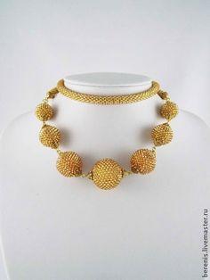 Золотые шарики - золотой,золотое колье,золото,жгут из бисера,оплетеные бусины