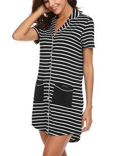 Ekouaer Sleepshirt Womens Nightgowns Short Sleeve Cute Soft Lingerie Nightie  Sleepwear SXL Large Black   Take a look at this excellent product. 85da9a7ac