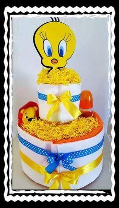 Τον λατρέψαμε! Μια τούρτα-πάνα ή αλλιώς diapercake με τον Tweety! Σπεύσατε!! Tweety, Birthday Cake, Website, Desserts, Kids, Food, Tailgate Desserts, Young Children, Deserts