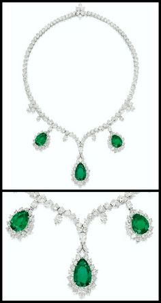 Harry Winston platinum and white gold necklace with pear-shaped emeralds weighing 10.61, 8.30 and 7.02 carats. The emeralds are wreathed in marquise- and pear-shaped diamonds and hang from a necklace set with many more pear- and marquise-shaped diamonds. Total diamond weight: 32 carats.