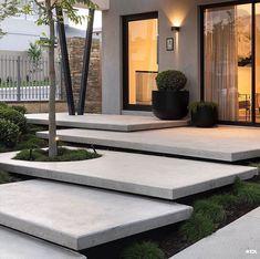 What is your thought about this? - Every detail of the floating stairs in trowel finish concrete has been carefully considered to assist in… Landscape Design Plans, Landscape Materials, Landscape Architecture Design, House Landscape, Famous Architecture, Landscape Stairs, Stairs Architecture, Modern Landscaping, Backyard Landscaping
