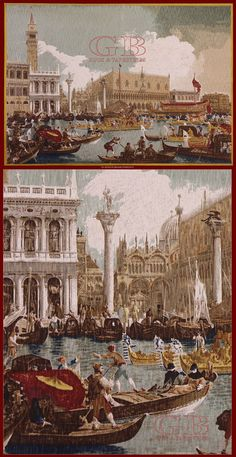 """Tapestry """" Venise """" De Rambouillet - Polychrome reproduction on textile of Canaletto . The reproduction of the original piece happens through long and scrupulous stages of workmanship to work of a équipe of artists of DE RAMBOUILLET"""