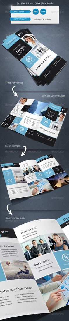 Modern & Corporate Trifold Brochure Template A4 - Commerce Flyers