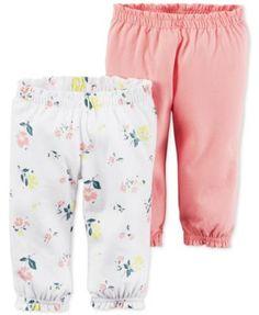 Carter's Baby Girls' 2-Pack Little Blooms Ruffle-Waist Pants
