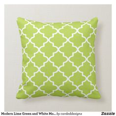 Add style to your home's decor with a beautiful, chic modern lime green and white Moroccan quatrefoil throw pillow. Size: Throw Pillow x Color: green/lime/white. Lime Green Cushions, Green Pillows, Throw Pillows, Wedding Color Schemes, Wedding Colors, Decorative Cushions, Quatrefoil, Custom Pillows, Moroccan