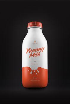 Design of Yummy Milk Brand and Bottledesign