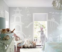 not usually a huge fan of murals - but this simple white-on-gray looks whimsical and pretty