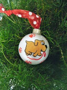 Dog Ornament, I Want a Walk! - Personalized Dog Lover Christmas Ornament - Hand painted Glass Ball Buable