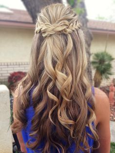 Braided half up half down wedding hair.