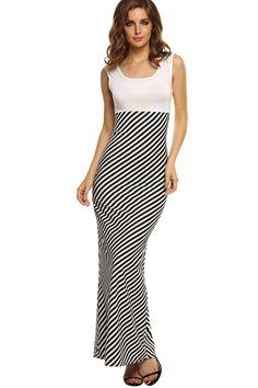 Santana Stylish Lady Women Fashion Casual Sleeveless Sexy High Waist Stripe Party Full Dress