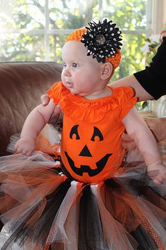 Child Halloween Fall Costume tutu, orange black white, newborn through 5t. $24.95, via Etsy.