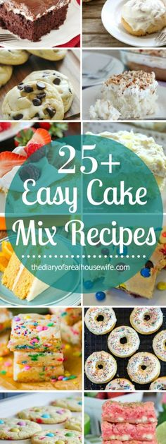 Super easy dessert recipes you can make with a box of cake mix! Easy Cake Mic Recipes