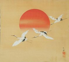 Shoei painted this study of 'Cranes in Rising Sun' around 1950