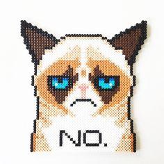 Grumpy Cat perler beads by perler_art Fuse Bead Patterns, Perler Patterns, Beading Patterns, Cross Stitch Patterns, Pearler Beads, Fuse Beads, Pixel Art Templates, Beaded Cross Stitch, Grumpy Cat