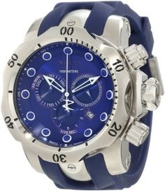 Invicta Men's 1405 Venom Reserve Chronograph Blue Dial Watch Invicta. $339.99. Swiss quartz movement. Water-resistant to 1000 M (3280 feet). Blue dial with blue and white hands and hour markers; luminous; unidirectional stainless steel bezel; screw-down crown and pushers. Flame-fusion crystal; stainless steel case; blue polyurethane strap. Chronograph functions with 60 second, 30 minute and 1/10th of a second subdials; date function. Save 83% Off!
