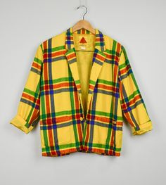 Plaid Blazer, 80s Clothing, 90s Clothing, Vintage Clothing, Small Blazer, Colorful, Plaid, Hip Hop, Colorful, Fresh Prince, Yellow, Retro(Etsy のJusticeAndFreedomより) https://www.etsy.com/jp/listing/276324370/plaid-blazer-80s-clothing-90s-clothing