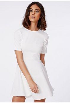 Missguided - Iris Ponte Skater Dress Ivory
