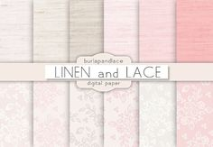 Digital paper: LINEN and LACE, digital paper pack linen, lace, beige linen, lace, wedding digital paper, lace pattern on Etsy, €3,77
