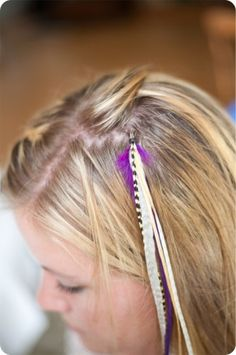 DIY Feather Extensions from Elisa Mclaughlin. Diy Hair Feathers, Feather Hair, Feather Extensions, Hair Extensions, Feathered Hairstyles, Diy Hairstyles, Bad Hair, About Hair, Great Hair
