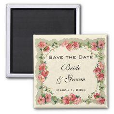 Vintage Save the Date, Pink Flowers Floral Roses Magnet