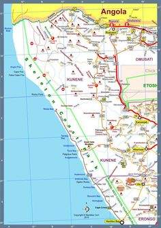 Map of Namibia Africa Road Map A Version 2010 South Africa, Wanderlust, Map, Spaces, Location Map, Maps