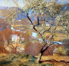 Landscape Painting by American Impressionist Artist Daniel Garber ~ The River Valley, 1930 Impressionist Landscape, Impressionist Paintings, Landscape Art, Landscape Paintings, Landscapes, American Impressionism, Mountain Paintings, Large Painting, American Artists