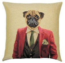 Dandy Pug Red Belgian Tapestry Dog Cushions  http://www.abentleycushions.co.uk/detail.asp?pID=4411