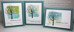 Sheltering Tree Block Stamped Sympathy Cards. block, blend, color, spritz, sympathy, thinking of you. #toocoolstamping