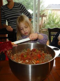 cooking with kids, easy chili recipe, and veggies!