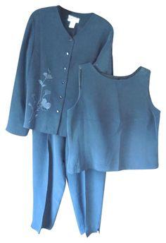 Pendleton Black Silk - Jacket Sleeveless Blouse Pant Suit Size 16 (XL, Plus Silk Jacket, Silk Pants, Pendleton Jacket, Black Fishnets, Sweater And Shorts, Skirt Suit, Embroidered Flowers, Black Silk, Sleeveless Blouse