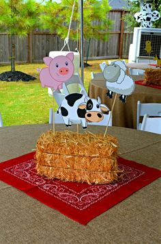 Kate is 2 Rodeo Birthday, Cow Birthday, Cowboy Birthday Party, Farm Animal Birthday, Farm Themed Party, Barnyard Party, Farm Party, Birthday Party Centerpieces, Birthday Party Tables