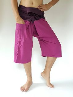 2Tone in purple 3/4 fhai fisherman, yoga aretpants free-size fit for men or woman