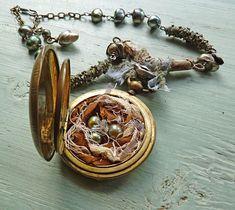 Home Nest Locket Necklace by Nina Bagley on Etsy Jewelry Crafts, Jewelry Art, Jewelry Necklaces, Jewelry Design, Jewelry Ideas, Handmade Bracelets, Handmade Jewelry, Old Pocket Watches, Jasper Stone