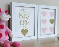 Girls Bedroom Art / Instant Download / Nursery Wall Art Print  Set of 2 - White Pink and Gold Dream Big Little One / Hearts Art Prints