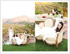 Cherubesque brides on a vanilla colored sofa for a winery wedding inspiration shoot by Alchemy Fine Events & Invitations www.alchemyfineevents.com