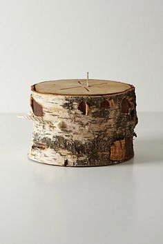"""Bonfire Log from Anthropologie.... this is in the style of nordic, Swedish fire logs.... DIY:  cool idea to add ROPE HANDLES, and a wick inside... this makes me curious (8"""" high 10"""" diameter... it's a birch candle)"""
